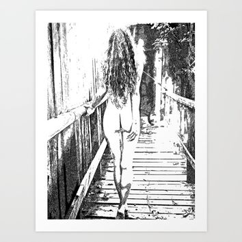 Girl at the bridge Art Print by Peter Reiss