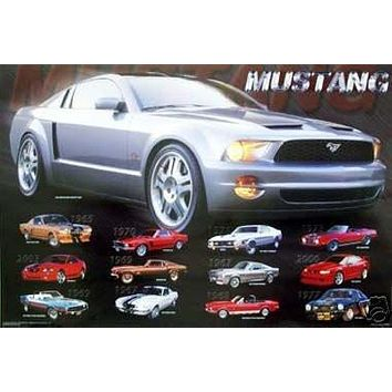 Mustang Evolution Collage Poster History Car Rare 24x36