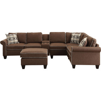 Acme 54250-51-52-54 4 pc Kelliava chocolate fabric modular sectional sofa with USB power dock console