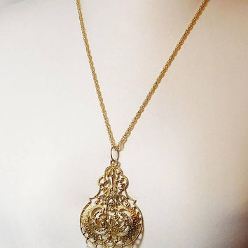 Chunky Large Pendant, Long Chain Necklace, Ornate, Filigree, Faux Pearls, Dangling, Brass Look, Gold Tone, Brutalist, Victorian Steampunk