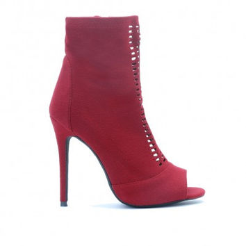 Cut Out Ankle Boots Red Wine