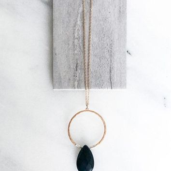 Faceted Black Teardrop Necklace