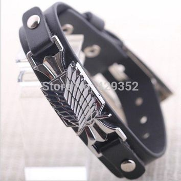 Cool Attack on Titan   Star Craft II Wings of Liberty Personality Bracelets Genuine Leather Bracelets For Women And Men AT_90_11