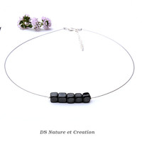 Fashion chic choker, dainty stone jewelry, hematite jewelry natural black stone necklace chic fashion dainty necklace hematite choker shikky