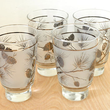 Set of Four Vintage Libbey Pinecone Pattern Footed Juice Glasses