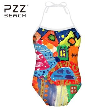 Kids Baby Boys Girls Swimwear Painting High Neck Bohemia Swimsuit One Piece Bathing Suits Halter