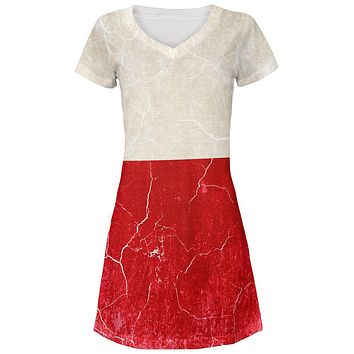 Distressed Grunge Polish Flag Juniors V-Neck Beach Cover-Up Dress