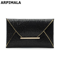 ARPIMALA 2017 luxury shiny envelope clutch bag glitter ladies hand bags wedding bags for women evening party black purse handbag