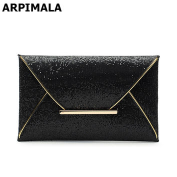 ARPIMALA 2018 luxury shiny envelope clutch bag glitter ladies hand bags wedding bags for women evening party black purse handbag