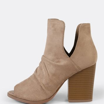 Faux Suede Peep Toe Ruched V Cut Chunky Heel Booty BEIGE