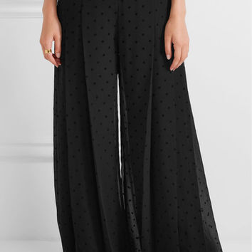 See by Chloé - Pleated polka-dot crepe wide-leg pants