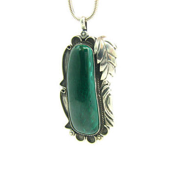 Navajo Pendant. Large Native American Malachite Gemstone. Sterling Silver Leaf Overlay, Suns, Rope. Vintage 1970s Statement Jewelry.  43.1 g