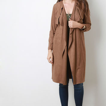 Suede Draping Open Front Longline Cardigan