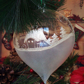 PERSONALIZED Hand painted glass ball Christmas ornament  White Winter