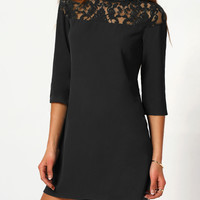 Black Round Lace Neck Buttoned Keyhole 3/4 Sleeve Mini Dress