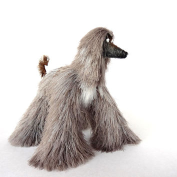 Miniature Toys, Cute Afghan Hound, Silvery dog figurine,  Stuffed Animal, Fun Plush Toy, Movable Figurine Dog, Cute Toy Mini Toy OOAK Artist