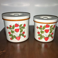 Vintage 1970s Pair of Kitchen Canisters - Strawberries / Strawberry Canister / Hard Plastic Kitchen Canisters