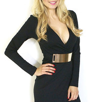 Belted Envelope Dress - Black