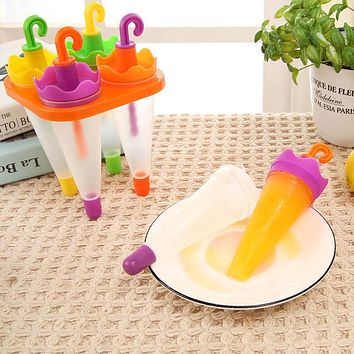 Cool Summer Umbrella Shape Ice Cream Mould Pops Juice Popsicle Party Mould Molds Children Kitchen DIY Tool
