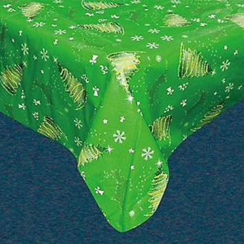 Holiday Vinyl Tablecloth w/ Flannel Backing - Festive Holiday Rectangle 52 x 90