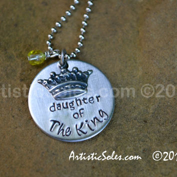 Daughter of the King Metal Stamped Charm Necklace