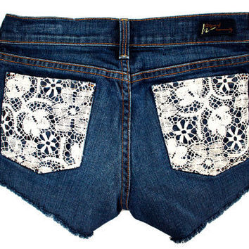 Floral Lace Crochet Pocket Citizens of Humanity Cut Offs by GirlMeetsClothes on Etsy