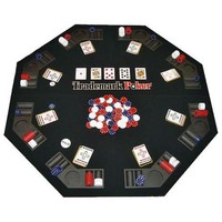 Folding Poker Table Top & Chip Set - Easy to Transport
