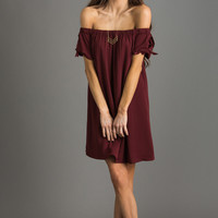Carla Burgundy Off the Shoulder Dress