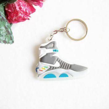 Mini Silicone Back To The Future II Glow In The Dark Air Mag Keychain Kids Key Rings S