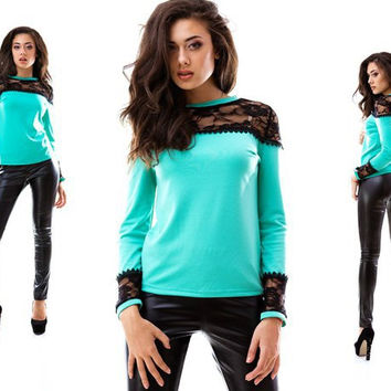 2017 Spring New Women long Sleeve T Shirts Casual Lace Patchwork Solid T-Shirts for women 2 color Fashion t shirt J6086