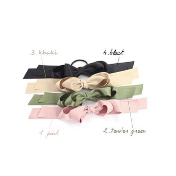 Women Multicolor Scrunchie Ponytail Holder Satin Ribbon Bow Hair Band Hair Rope atrovirens