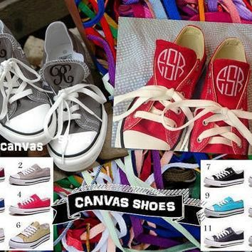 monogrammed canvas shoes personalized converse like shoe
