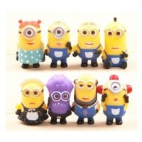 Gold-Leaf Despicable Me 2 The Minions Role Figure Display Toy PVC 8Pcs Set Yellow, Free