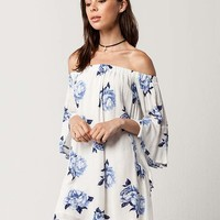 BLU PEPPER Watercolor Floral Off The Shoulder Dress | Short Dresses