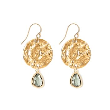 Tess and Tricia Lyra Gray Disc + Gem Drop Earring