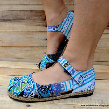 Hmong Embroidered Mary Jane Espadrille Vegan Blue And White Womens Shoe