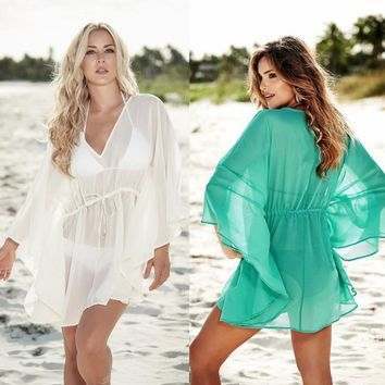 Robe De Plage Women Beach Sarong Dress Towel Cover Ups Out Of Dresses And Tunic 2018 New Suits Chiffon Big Size Swimsuit