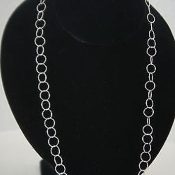 "Italian Sterling Silver Necklace 24"" Circle Link Original by C.W. Design"
