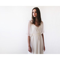 Ivory Chiffon dots sheer gown, Bridal ivory dress with bat wings sleeves, Boho style wedding dress