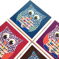 Owl Tile Coasters, Dr Who Inspired, Scrummy Things Illustrations, Table Drink Set