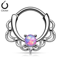 "1 - 16GA (1.2mm) 3/8"" (10mm) 316L Surgical Steel Brass Lacey Single Opal Septum Clicker Assorted Opal Colors F100 (Purple)"