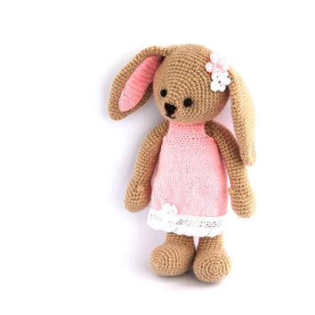 crocheted Easter bunny, stuffed beige bunny with elegant pink dress, girl bunny, amigurumi gift for children, rabbit, hare