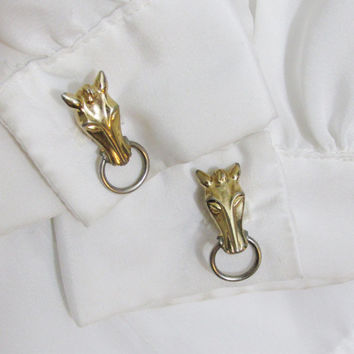 Vintage Cuff Links: Swank Horse Heads