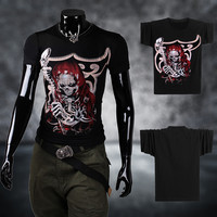 Print Short Sleeve Summer Devil Round-neck Innovative Strong Character T-shirts [9724848387]