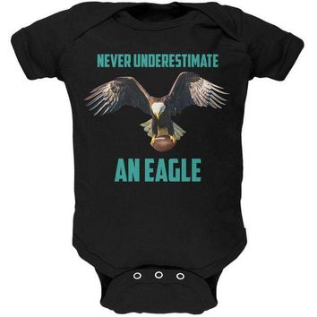PEAPGQ9 Never Underestimate An Eagle Flying Football Soft Baby One Piece
