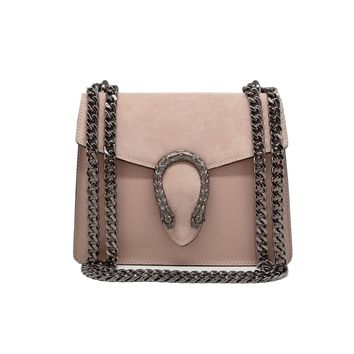 RONDA Italian Baugette clutch mini wallet cross body bag with nickel chain smooth stiff leather and suede