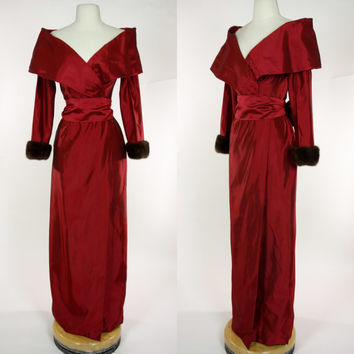 1980s red Victor Costa gown, mink fur cuffs, floor length maxi Holiday party dress, nipped waist, big portrait collar, bow waist tie, Medium