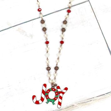 Candy Cane Joy Beaded Necklace