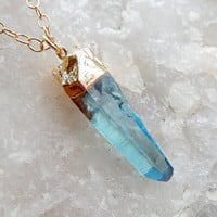 Aqua Aura Blue Quartz Point Necklace in Gold- Free Shipping Jewelry