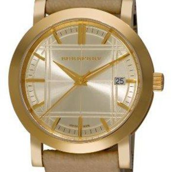 Burberry Women's BU1398 Check Engraved Gold Dial Check Strap Watch